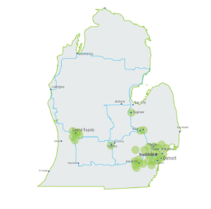 Dedicated business fiber, fixed wireless network, data center locations in Michigan